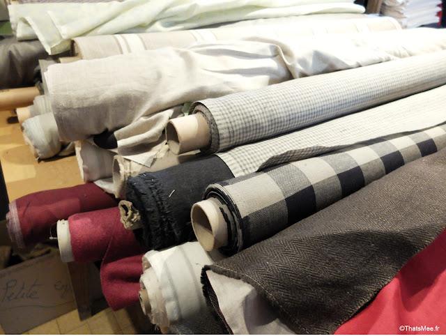 rouleaux tissu lin culture maison boutique Perche perrière spécialiste lin de maison linge écharpe torchon lin Salim fournisseur  Bon Marché