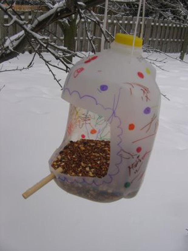 Как сделать кормушку для птиц фото из пластиковых бутылок
