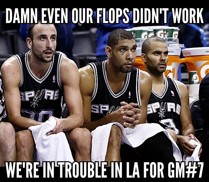 damn even our flops didn't work we're in trouble in la for gm#7. #spurs #nba #TimDuncan #EmanuelGinóbili #TonyParker #Flops,#Trouble,#LA,