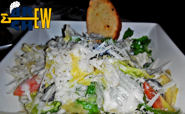 Classic Caesar Salad with Parmesan Shavings and Garlic Bread
