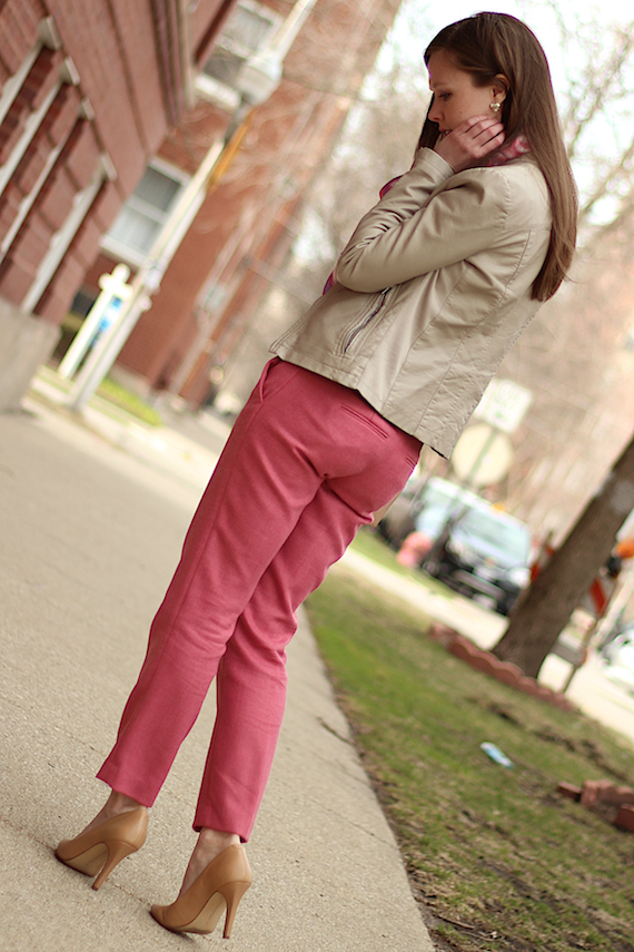 Pink Ankle Pants & Ivory Leather Jacket | StyleSidebar