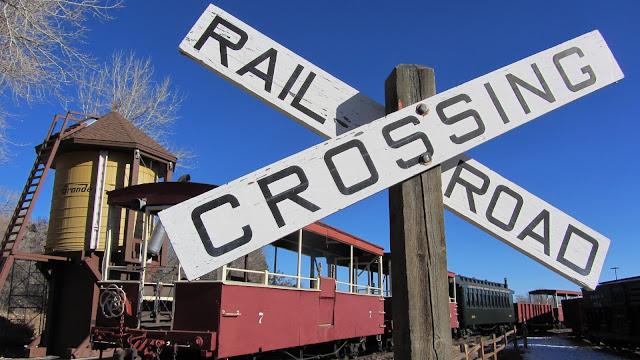A railroad crossing sign at the Colorado Railroad Museum in Golden, Colorado.