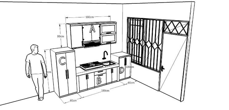 Kitchen Set Lurus Warna Merah Pintu Hidrolis Alumunium