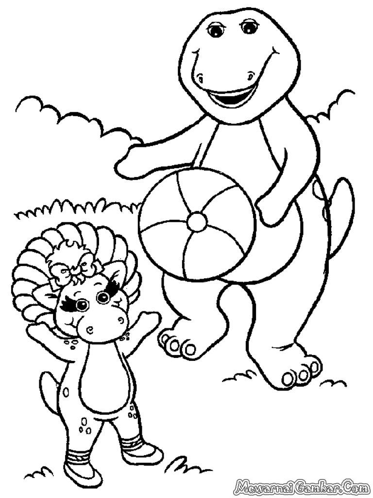 Mewarnai Gambar Barney And Friends Mewarnai Gambar