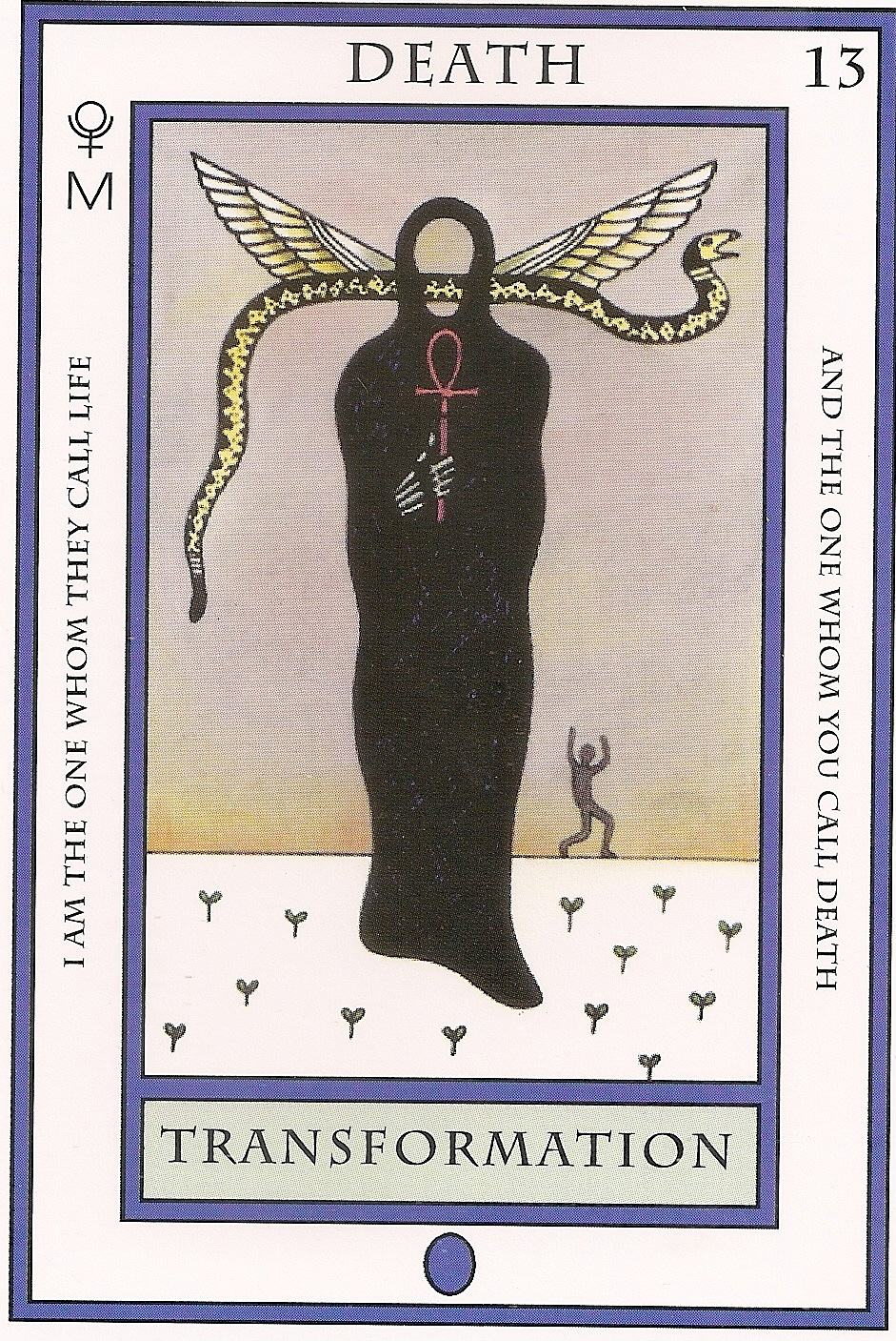 Tarot and more 5 tarot symbolism ankh a black shrouded figure holds an ankh a symbol of life and the key to the wisdom of the portal of the buycottarizona Images