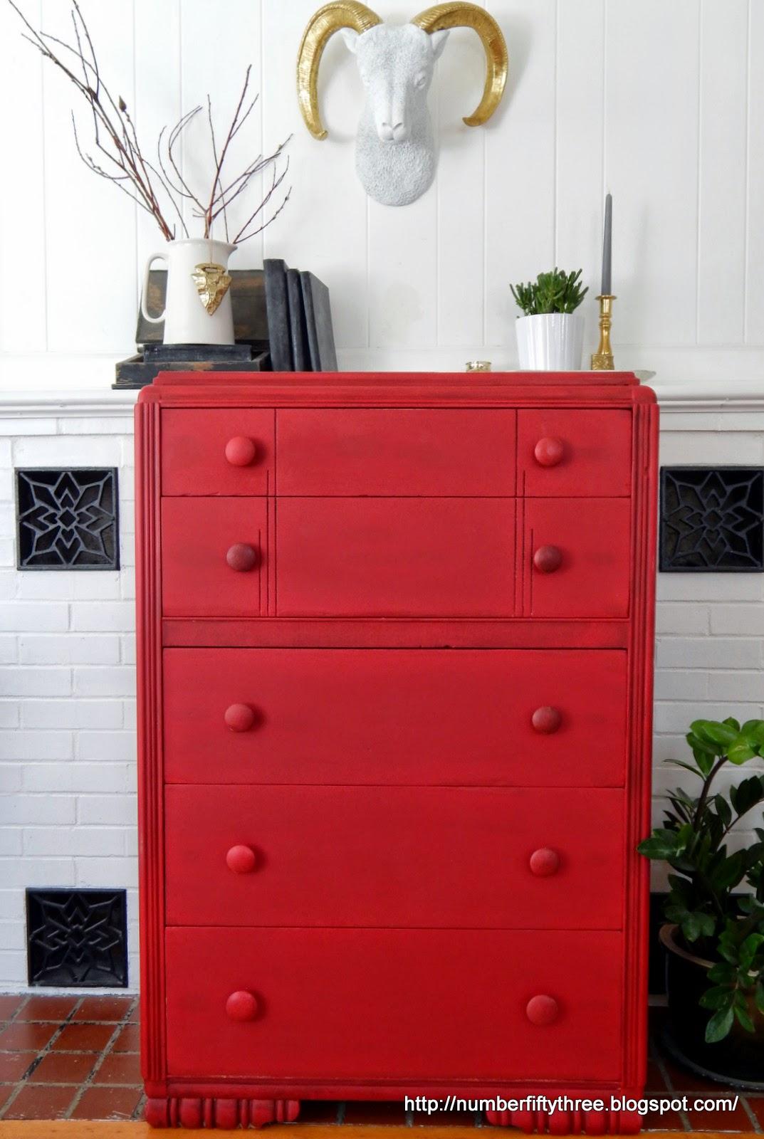 Number Fifty Three Vintage Red Dresser