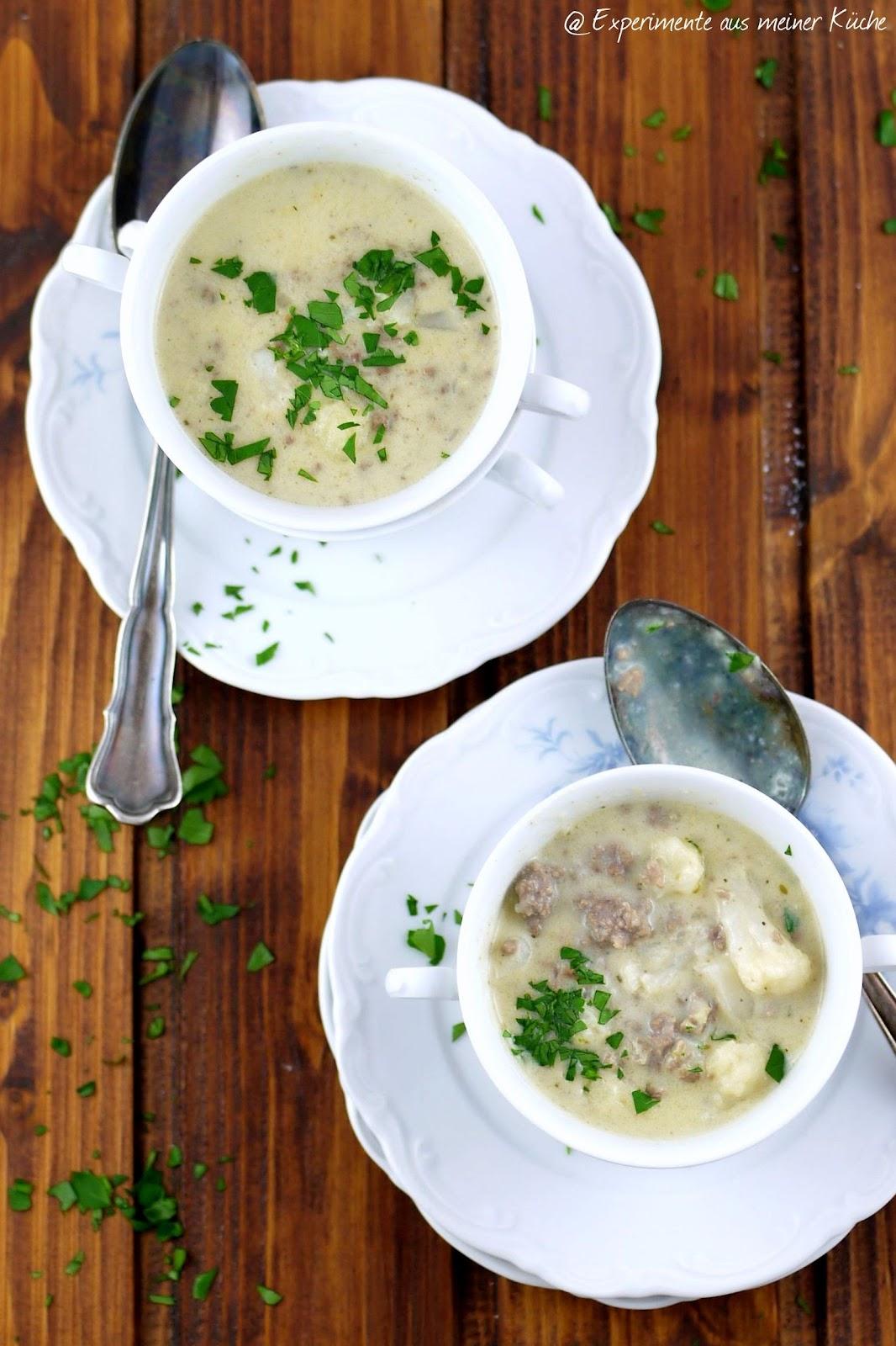 aus meiner Küche: Blumenkohl-Käse-Suppe mit Hackfleisch