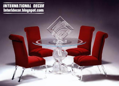 luxurious glass dining room furniture, glass table with red chairs glass legs