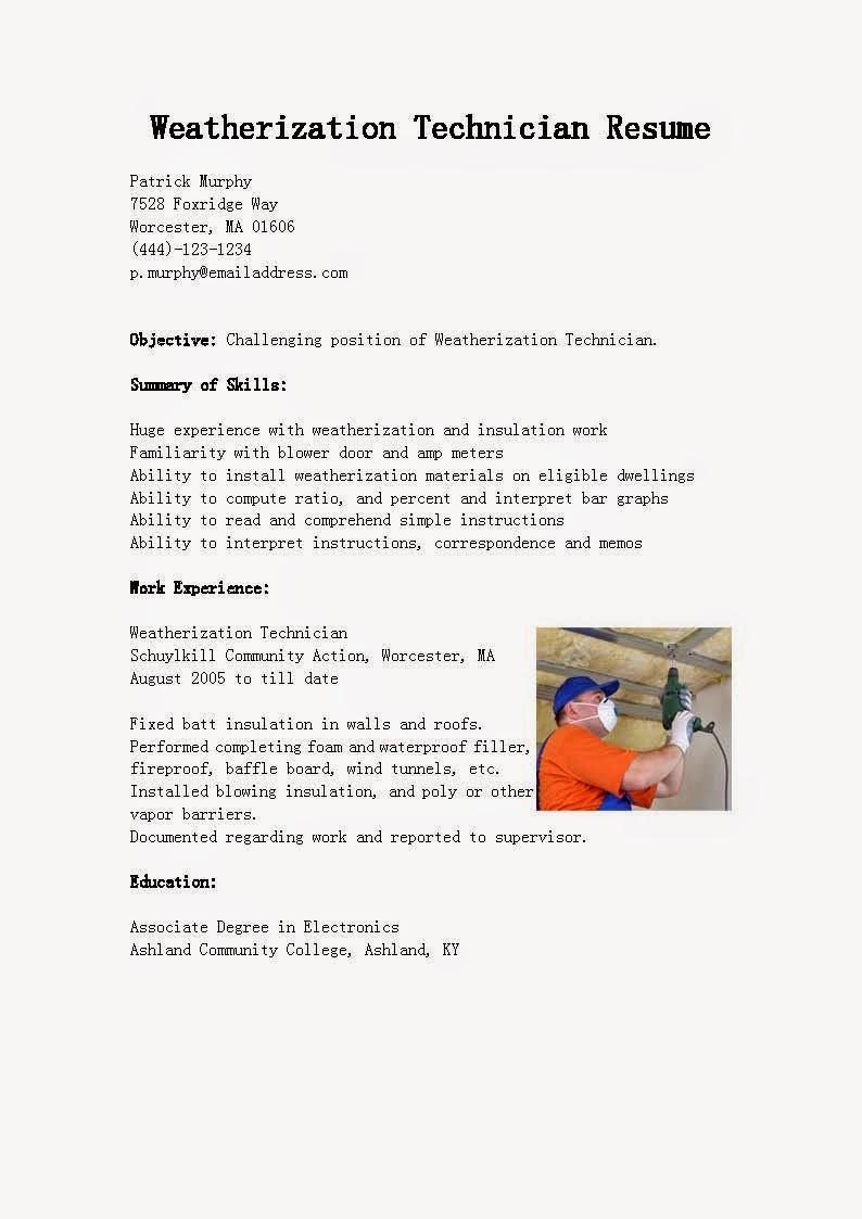 resume samples  weatherization technician resume sample