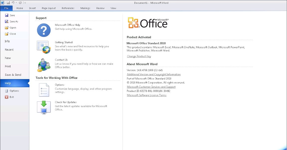 working office 2010 product key