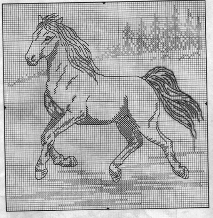Схемы вышивки крестом лошади монохром