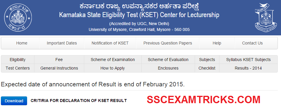 K-SET EXAM 2014 RESULT DETAILS