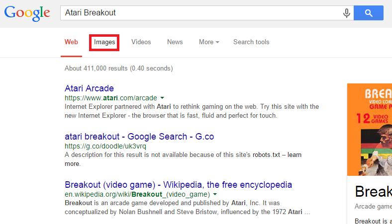 Change web search to image search Google