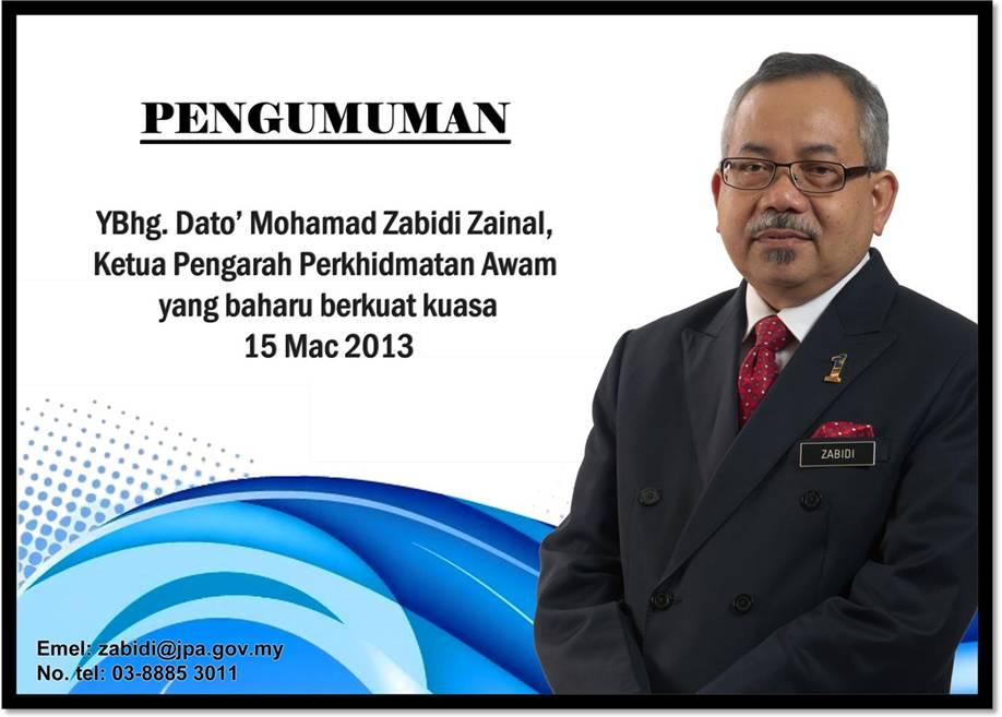 Perlantikan Ketua Pengarah Perkhidmatan Awam Malaysia Yang Baru Coretan Anuar