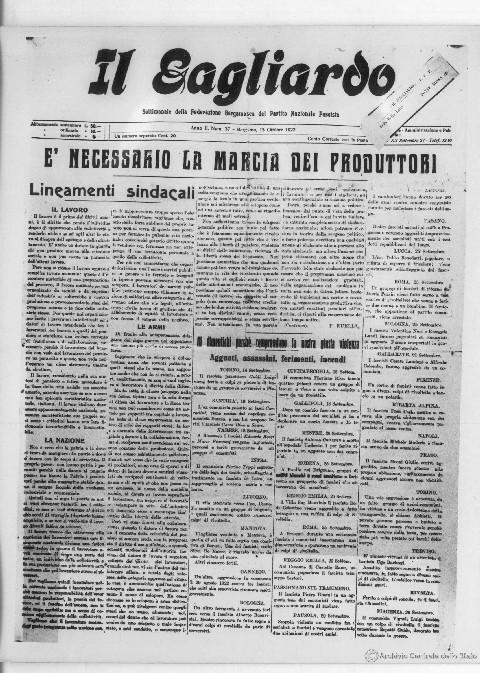"""""""IL GAGLIARDO"""" del 15-10-1922"""