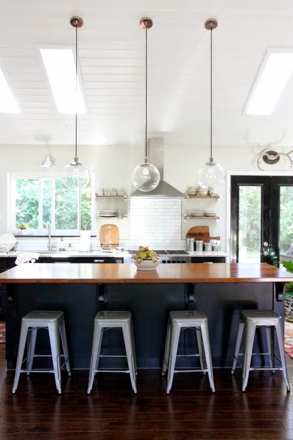 glass globe pendants - kitchen