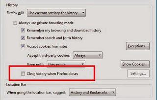 menghapus cookies otomatis ketika browser di matikan