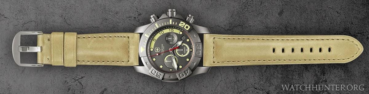 Victorinox Swiss Army Limited Edition Titanium Dive Master 500 on Dassari Heritage leather strap - digital rendering