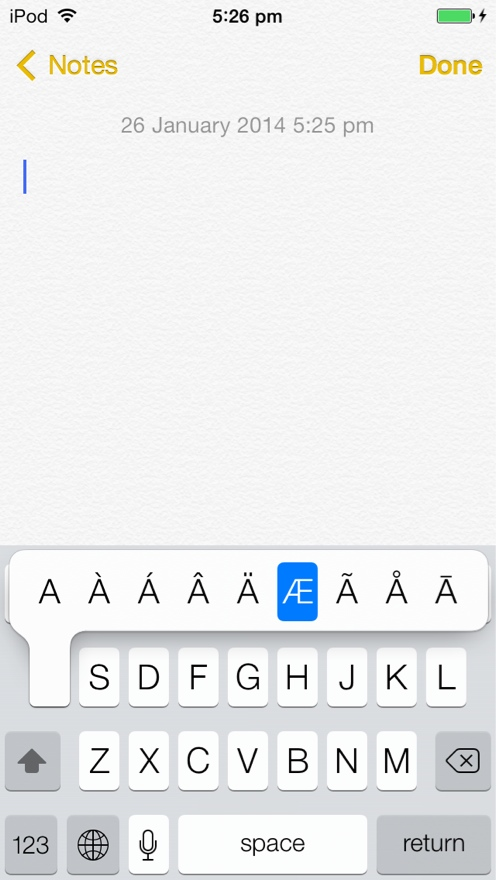 Tap and hold a letter to reveal extra characters
