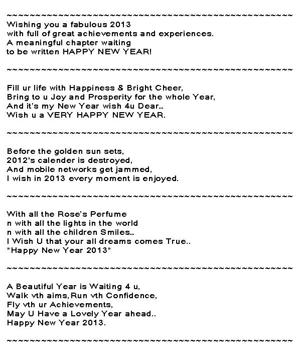 Happy New Year Wording 2013 - Nice Wording New Year