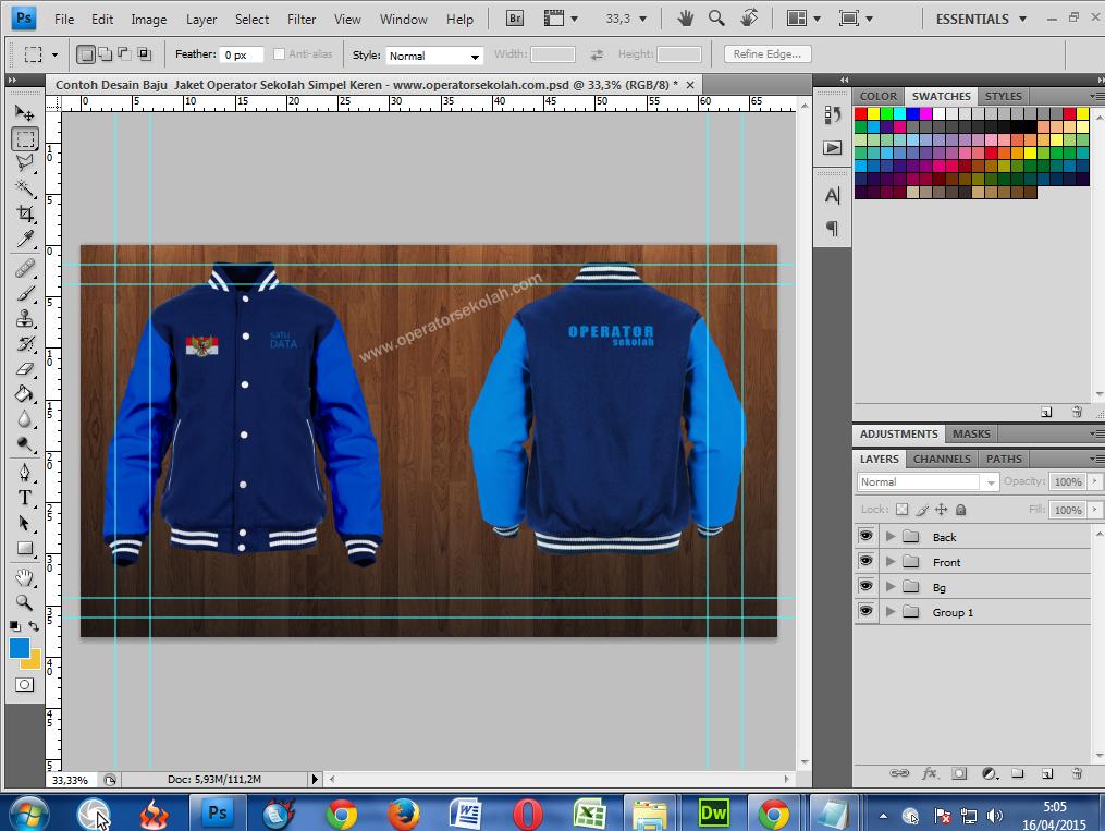 Edit Desain Baju Jaket Operator Sekolah di Adobe Photoshop