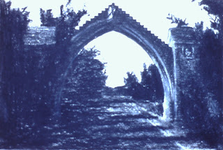 Edzell Arch, Edzell, Angus, Scotland - Charcoal by F. Lennox Campello, 1990