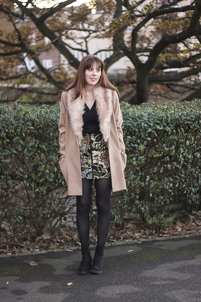 Topshop Statment Tapestry Skirt & Camel Oversized Coat  - UK Fashion Blogger