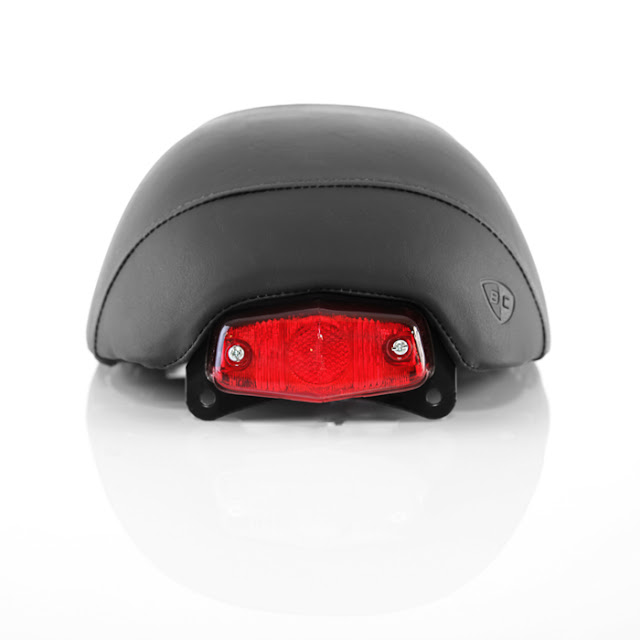 British Customs Cafe Racer Seat | British Customs Cafe Racer Seat with Optional Integrated Lucas Taillight | British Customs Cafe Racer Seat Price $399.95