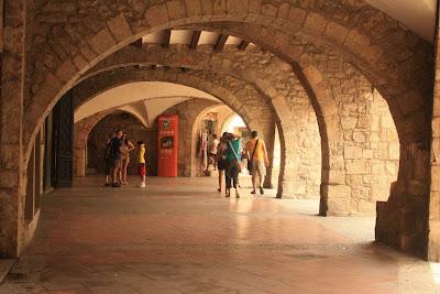 Arches in La Plaça de la Llibertat in Besalú