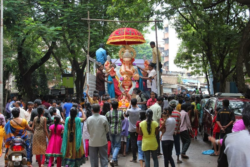 A big Ganesha idol Visarjan procession at Mumbai