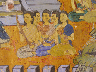 Ramayana mural, women sitting, Silver Pagoda, Phnom Penh, Cambodia