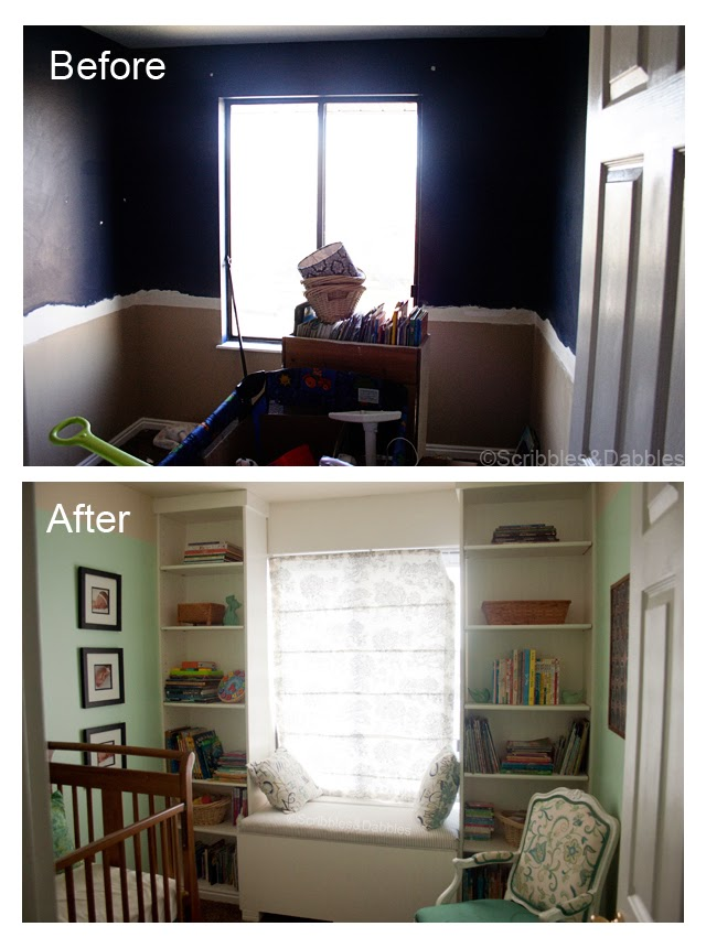 Scribbles&Dabbles: Nursery Reveal -- window before and after