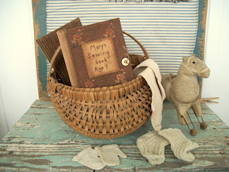 Norma Schneeman Sewing Books, Early Hand Woven Basket, Early Wool Socks, Early Mittens,