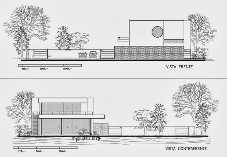 Facade sections of Modern Agua House by Barrionuevo Sierchuk Arquitectas
