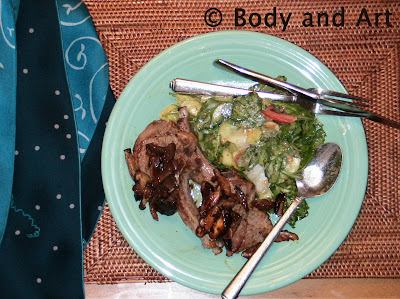 ROBBY ROBINSON'S DIET - HEALTHY MEALS - DINNER LAMB CHOPS WITH VEGS AND SALAD Robby's dietary anabolic SUPPLEMENTS, OILS and HERBS  for natural fat loss and muscle growth at any age  ▶  www.robbyrobinson.net/anabolic-pack.php