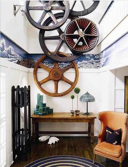 Industrial Wall Decor Ideas : Large antique industrial wood gear wall art