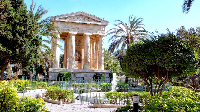 Welcome to Valletta, Malta and to the Alexander Ball Temple in the Lower Barracca Gardens. Photo: Cebete.