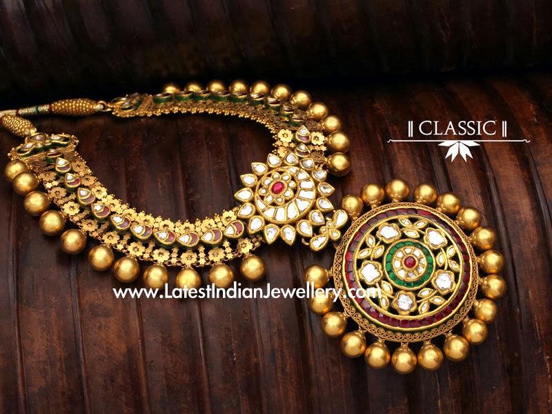 Classic Kundan Antique Gold Necklace