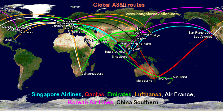 MAP: All the routes flown by all airlines operating the Airbus A380 ...