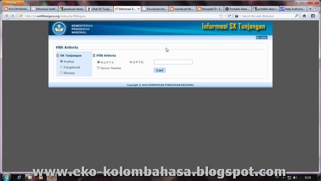 nomor peserta isikan nuptk atau nomor peserta sertifikasi klik cari