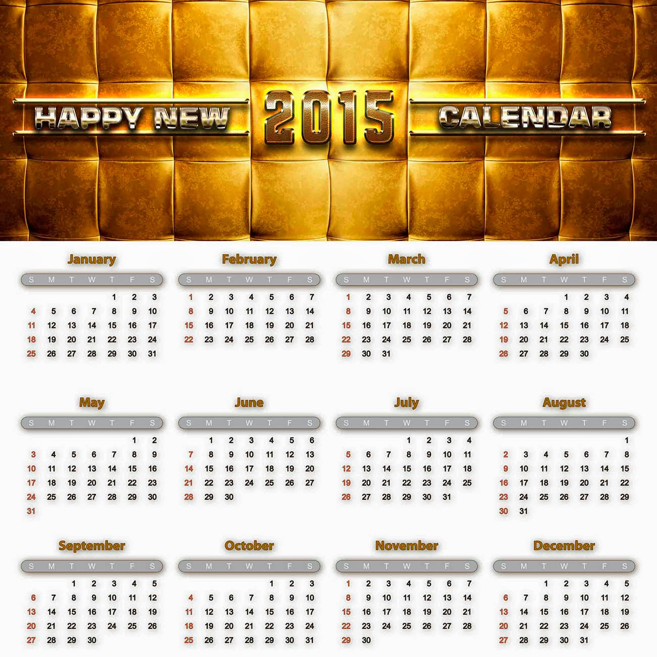 Calendario 2015 sobre fondo blanco y textura de tela acojinada
