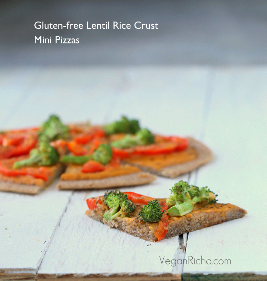 Gluten-free Lentil Rice Crust Pizza with Buffalo Mayo sauce, Red Bell Peppers and Broccoli. Vegan