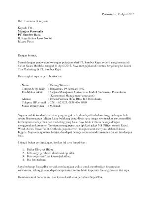Contoh Surat Lamaran Kerja Terbaik 2014