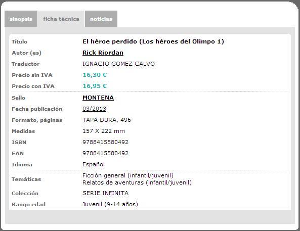 Ficha técnica de El héroe perdido tal como se muestra en la página web de Montena.