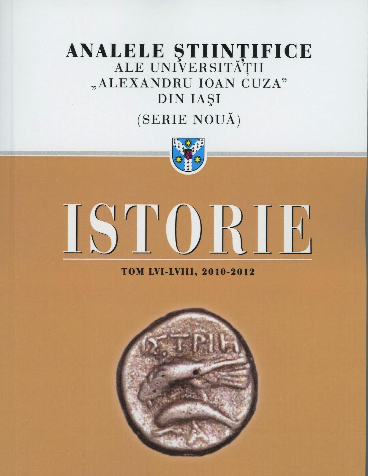 Coperta 1 a revistei Analele Ştiinţifice ale Universităţii Alexandru Ioan Cuza din Iaşi - 2010-2012