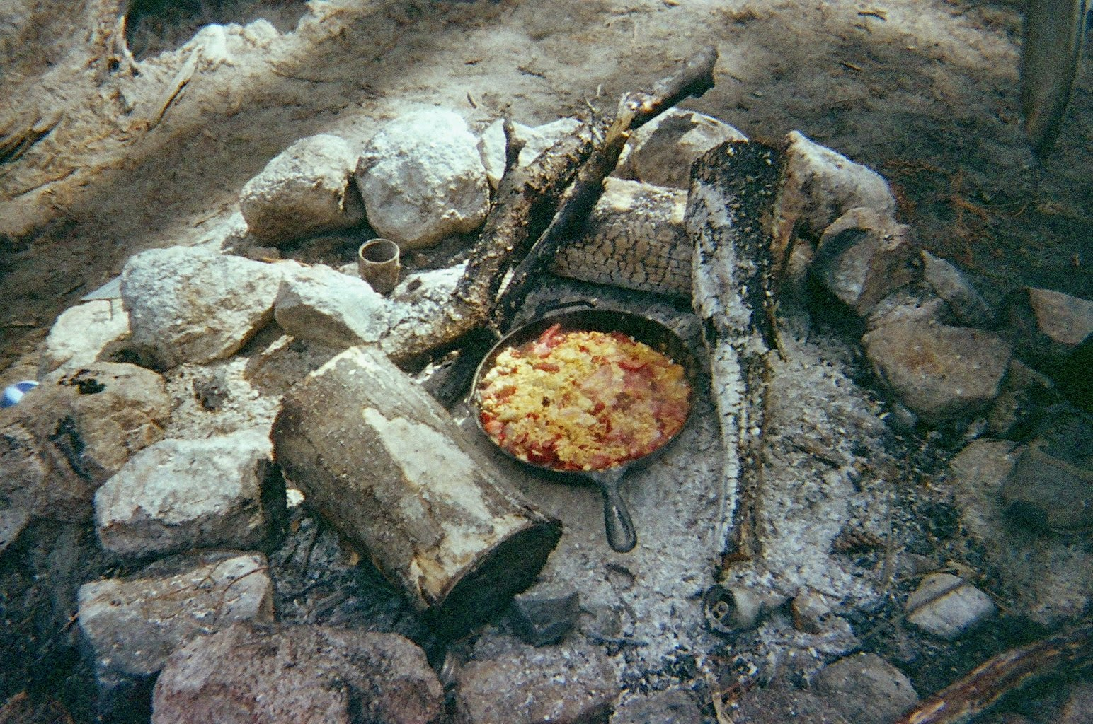 Strawberry Banana Skillet Crisp on Campfire