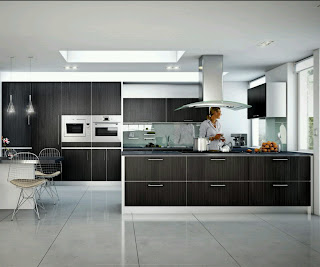 contemporary kitchen with wall oven