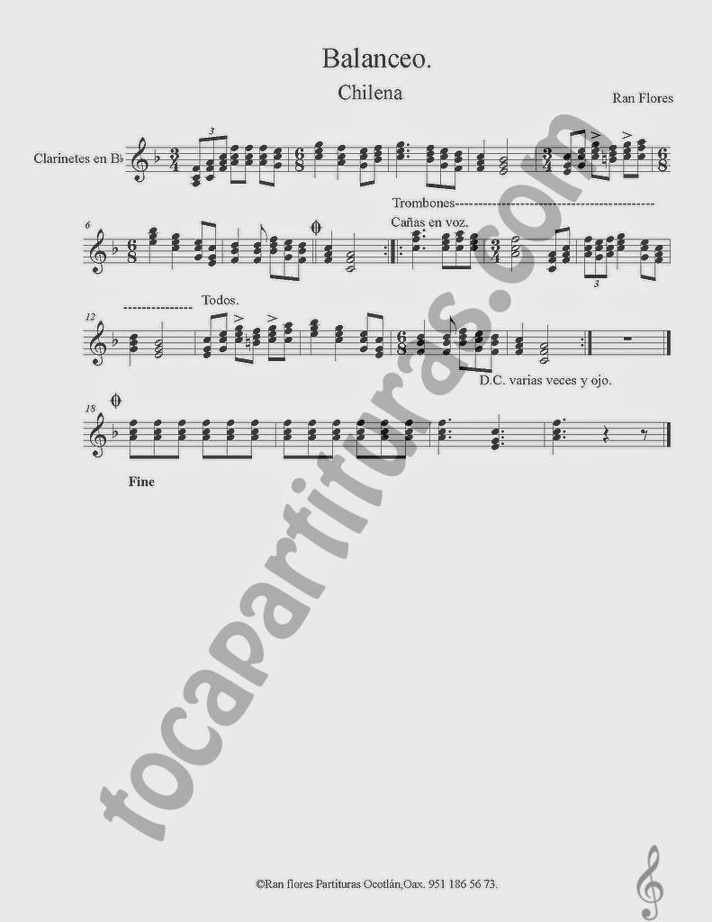 Partitura de Balanceo en Si bemol para Clarinete. La partitura puede servir también para Saxo Tenor y Saxofón Soprano en Si bemol