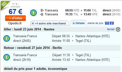 Vols low cost Nantes Berlin Transavia
