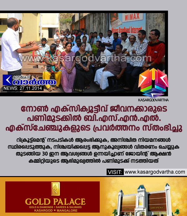 BSNL, Kasaragod, Protest, Kerala, BSNL Exchange, Joint Action Committee, Non executive workers.